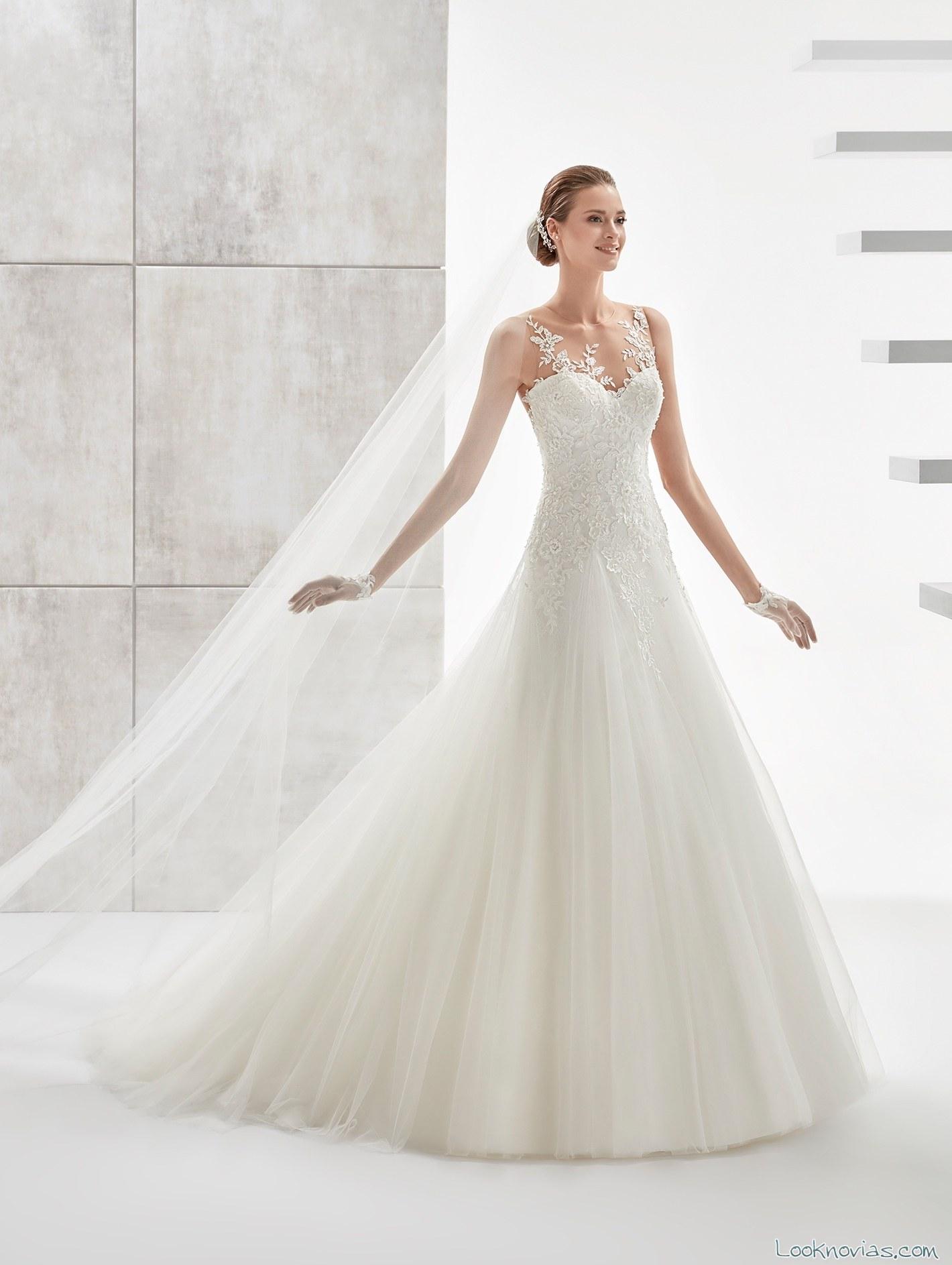 vestido novia evasé tirantes aurora
