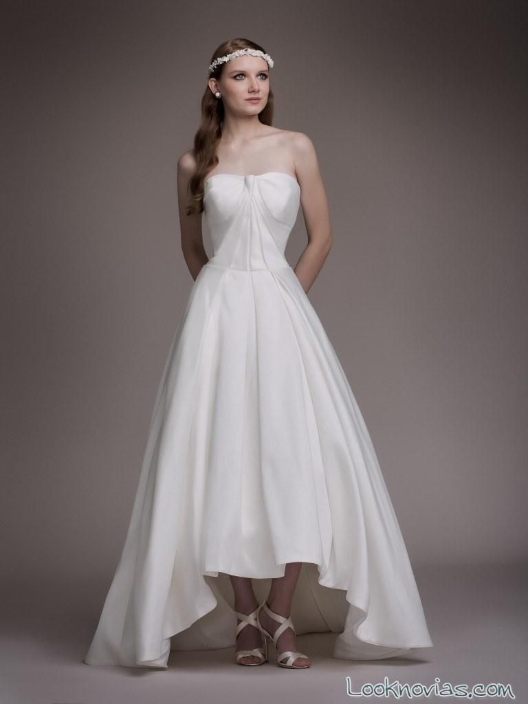 vestido novia falda asimétrica blancary