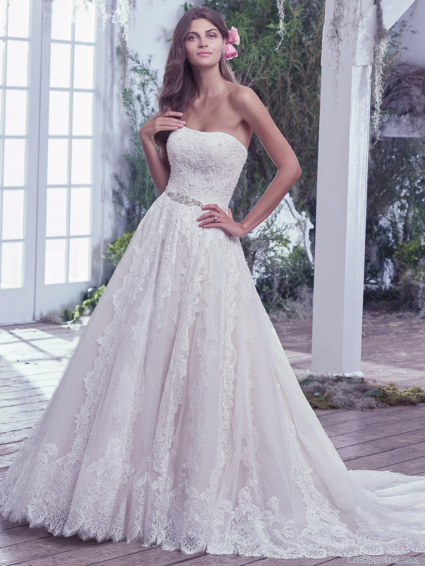 vestido novia falda bordada maggie sottero