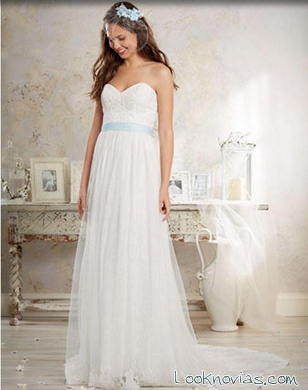 vestido novia falda de gasa alfred angelo