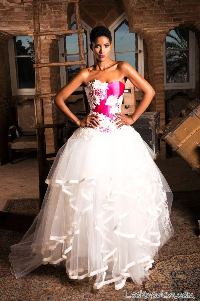vestido novia jordi dalmau rosa y blanco
