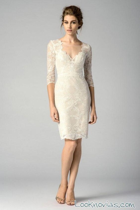 vestido novia media manga corto