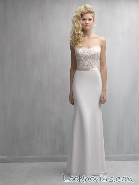 vestido novia recto con cinturón madison