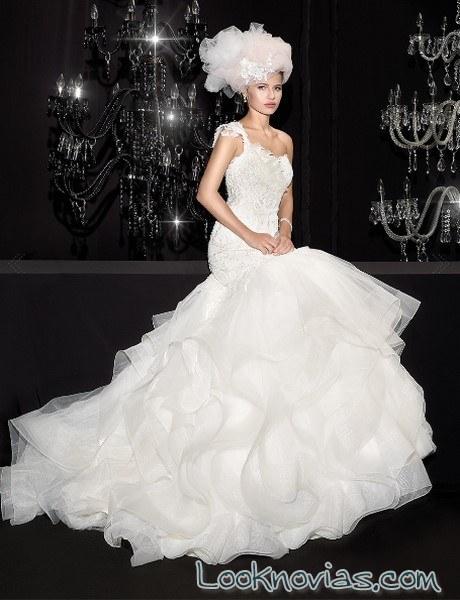vestido novia sirena volantes delsa