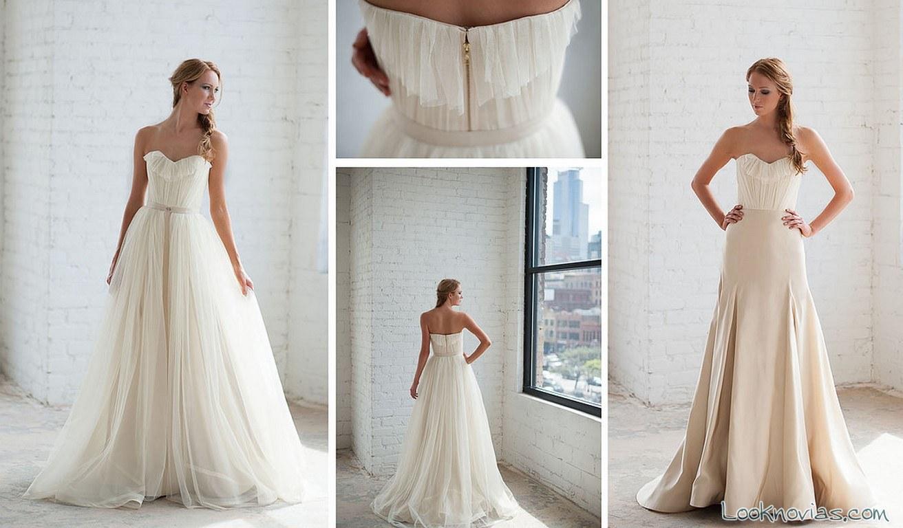 vestido novia tara latour con doble falda