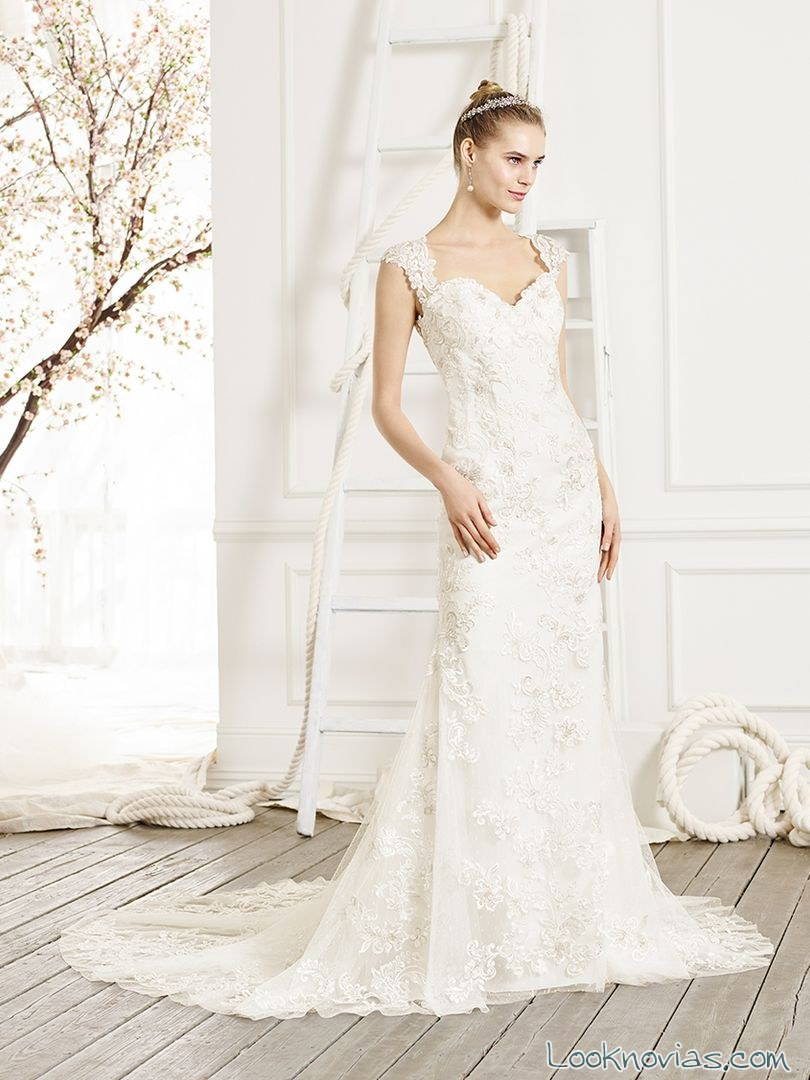 vestido novia tirantes recto
