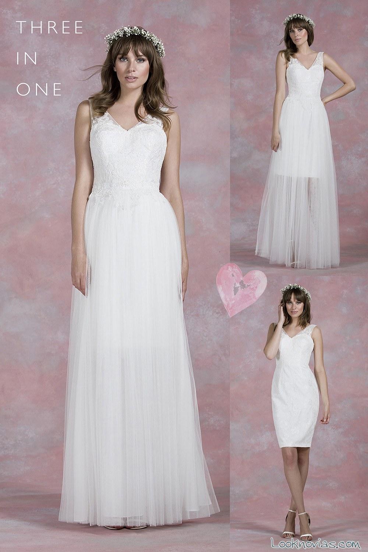 vestido novia tres en uno