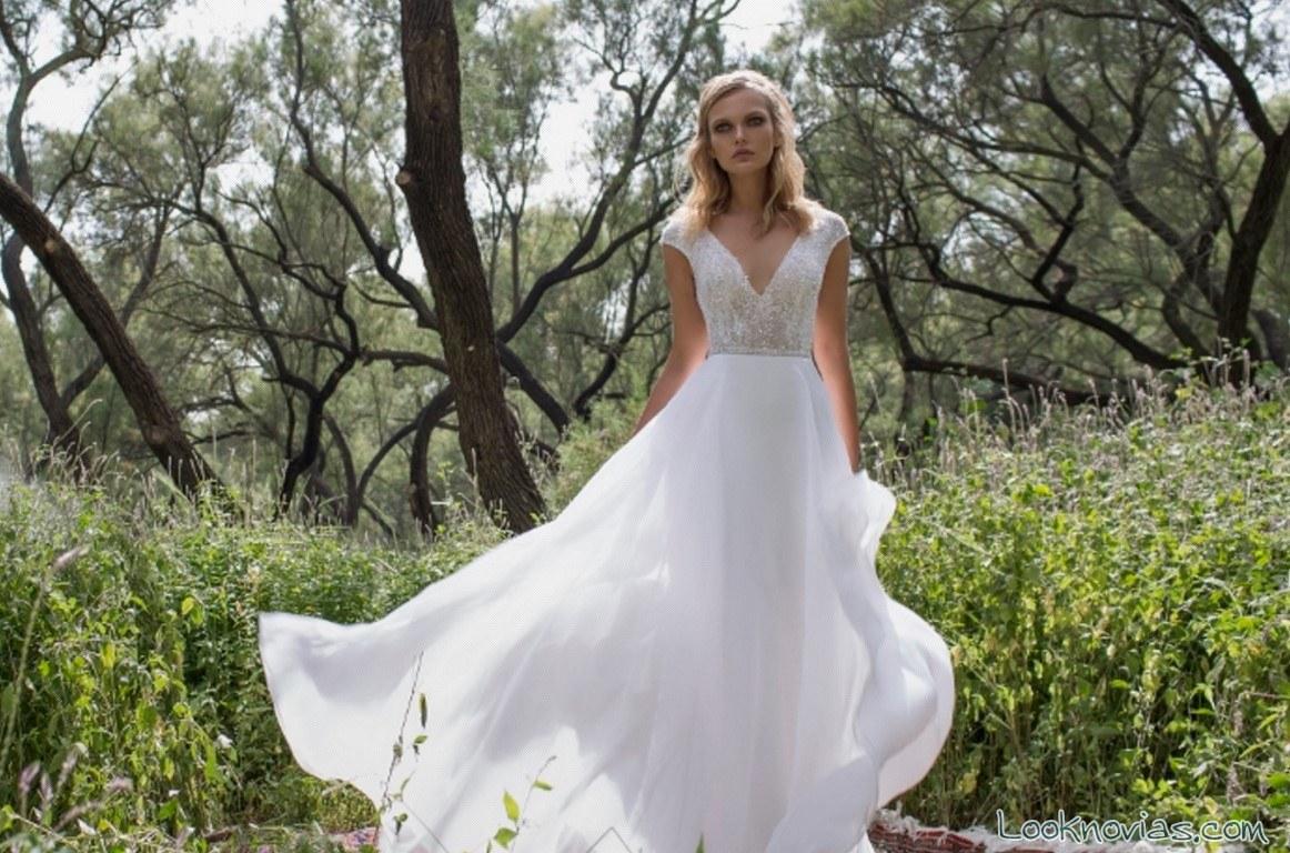 vestido novia vaporoso sencillo de limor rosen