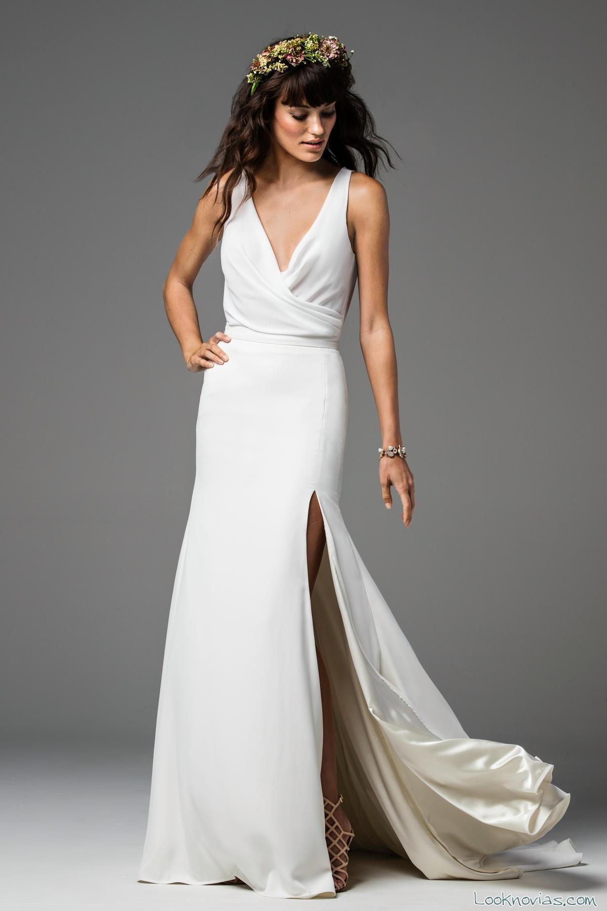 vestido novia watters liso con abertura