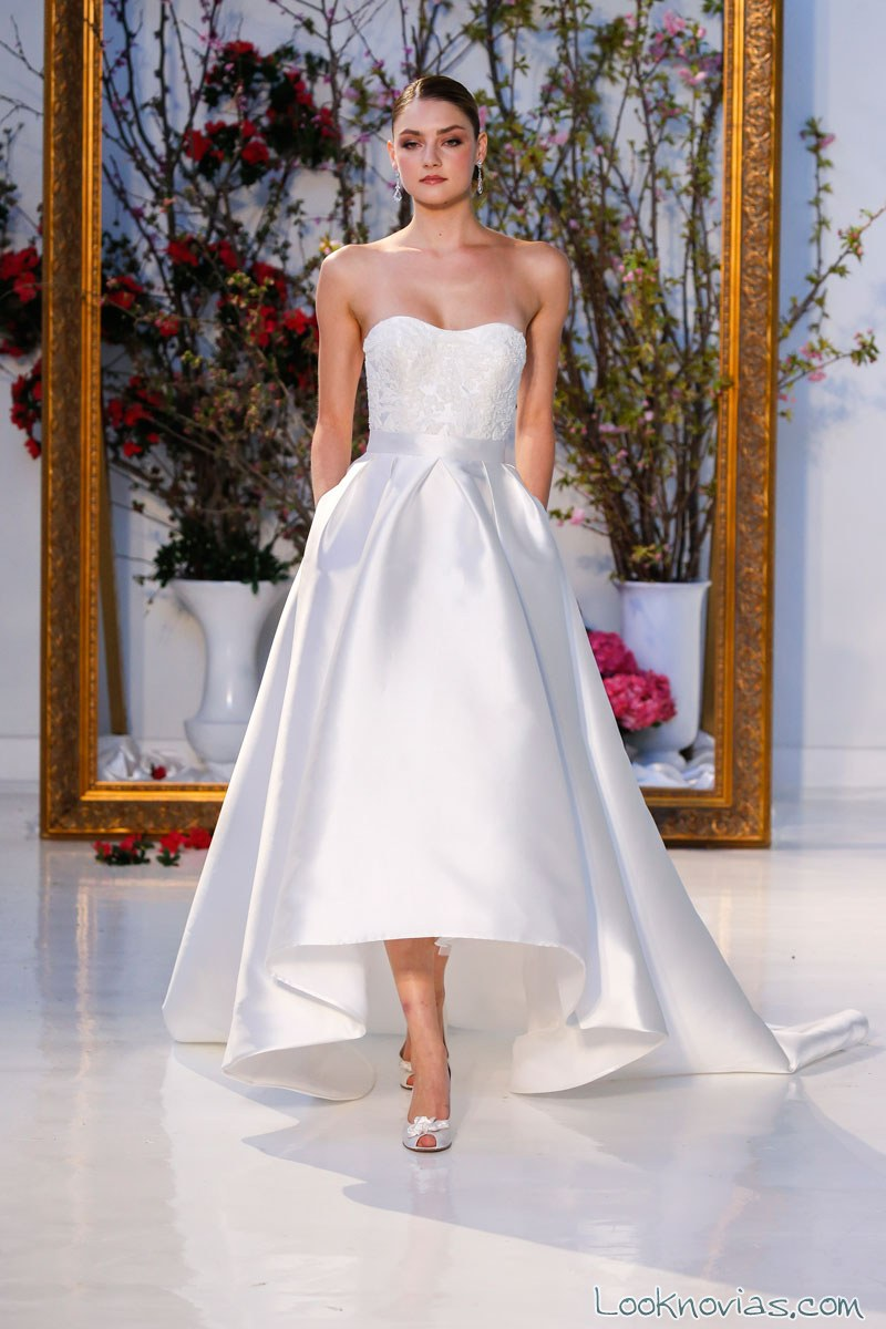 vestido novias anne barge falda asimétrica