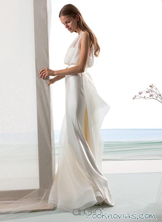 vestido novias combinado elegante
