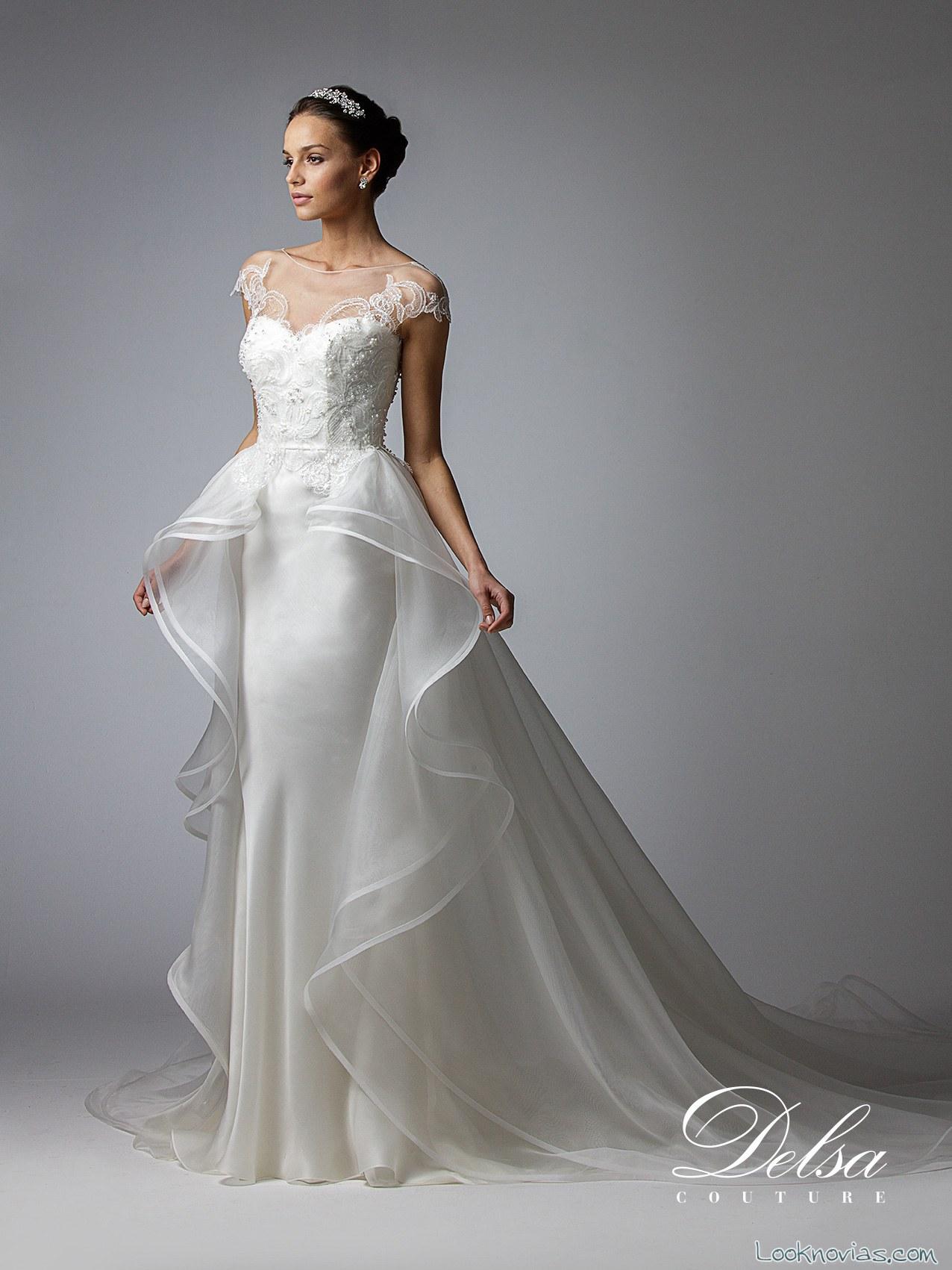 vestido novias con doble falda delsa