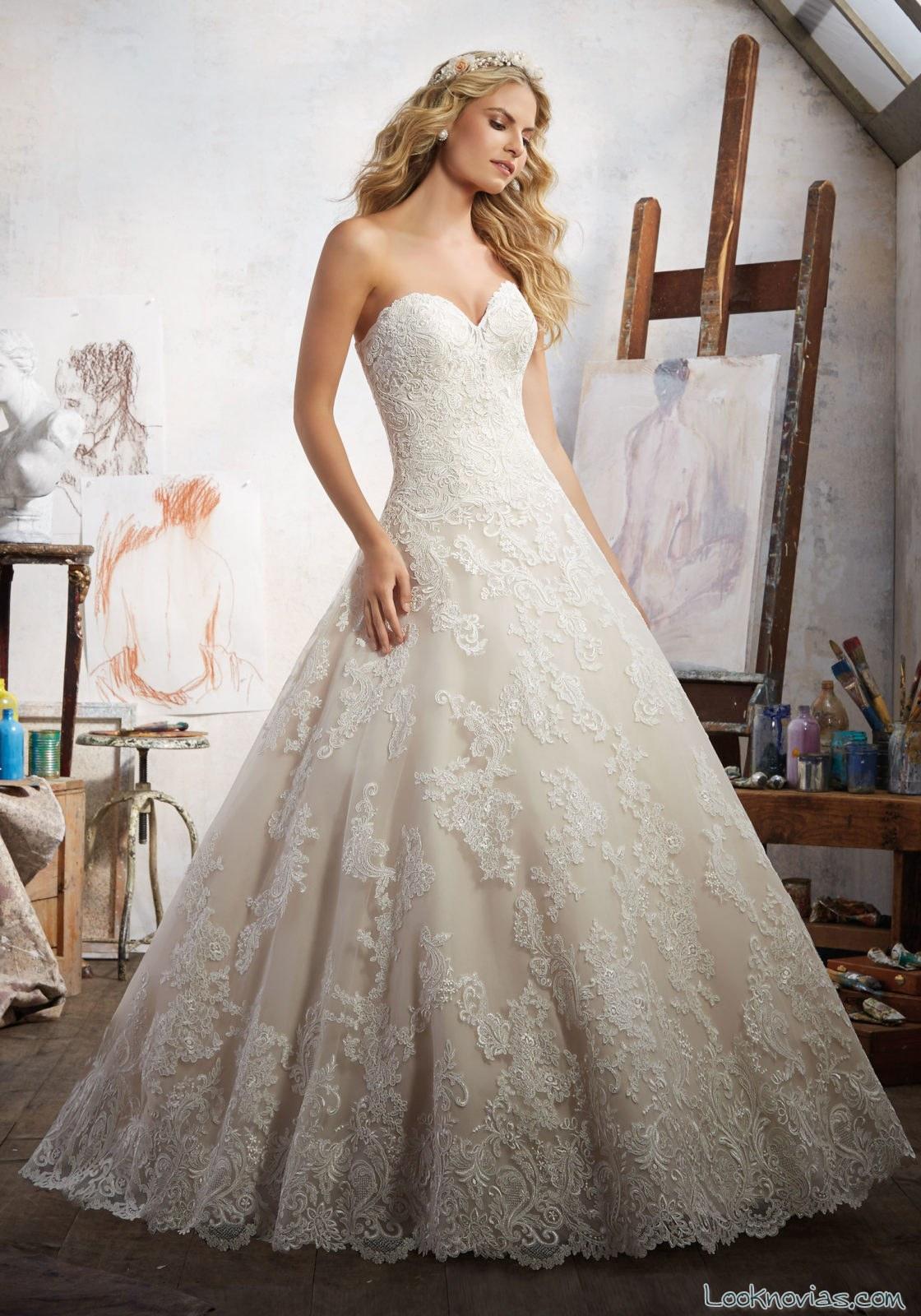 vestido novias corte princesa corazon