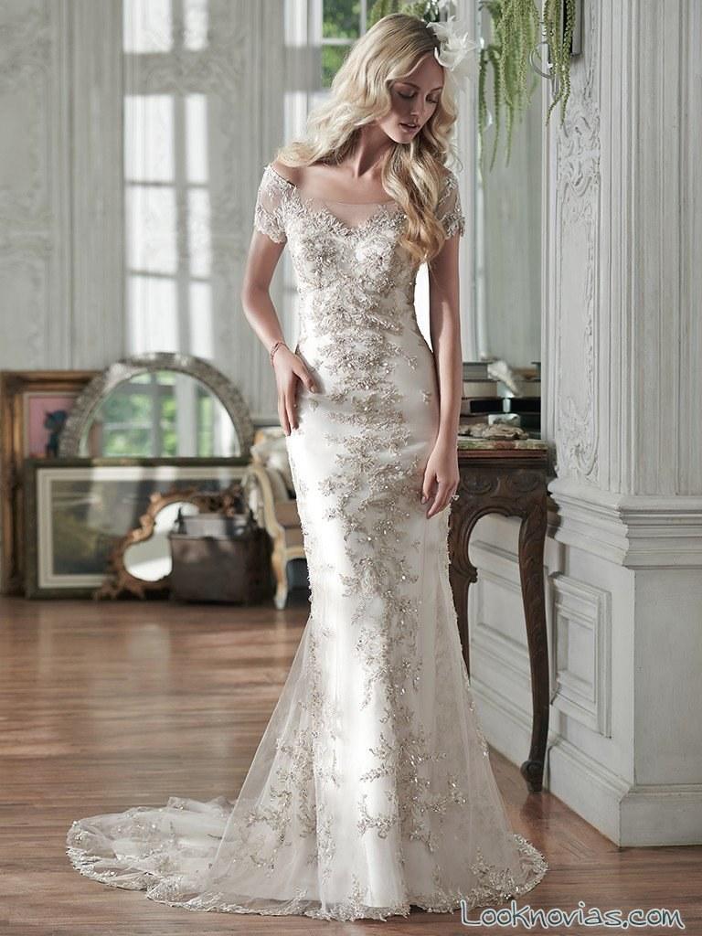 vestido novias doble tejido maggie sottero
