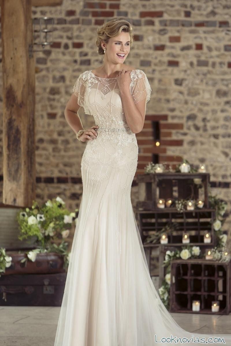 vestido novias escote con mangas