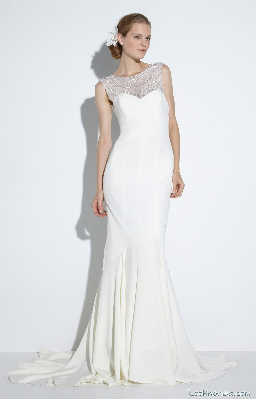 vestido novias escote pedrería miller