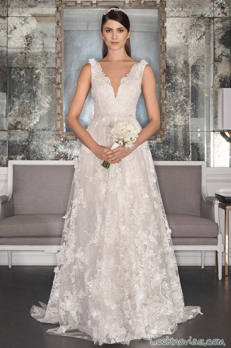 vestido novias evasé con tirantes romona keveza