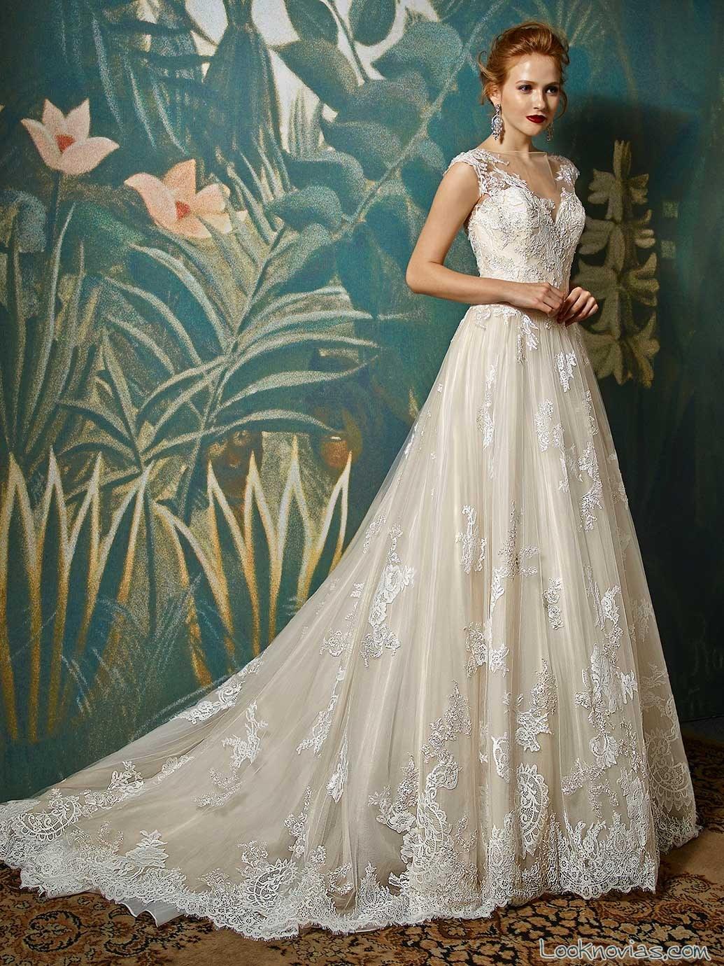 vestido novias evasé encajes enzoani