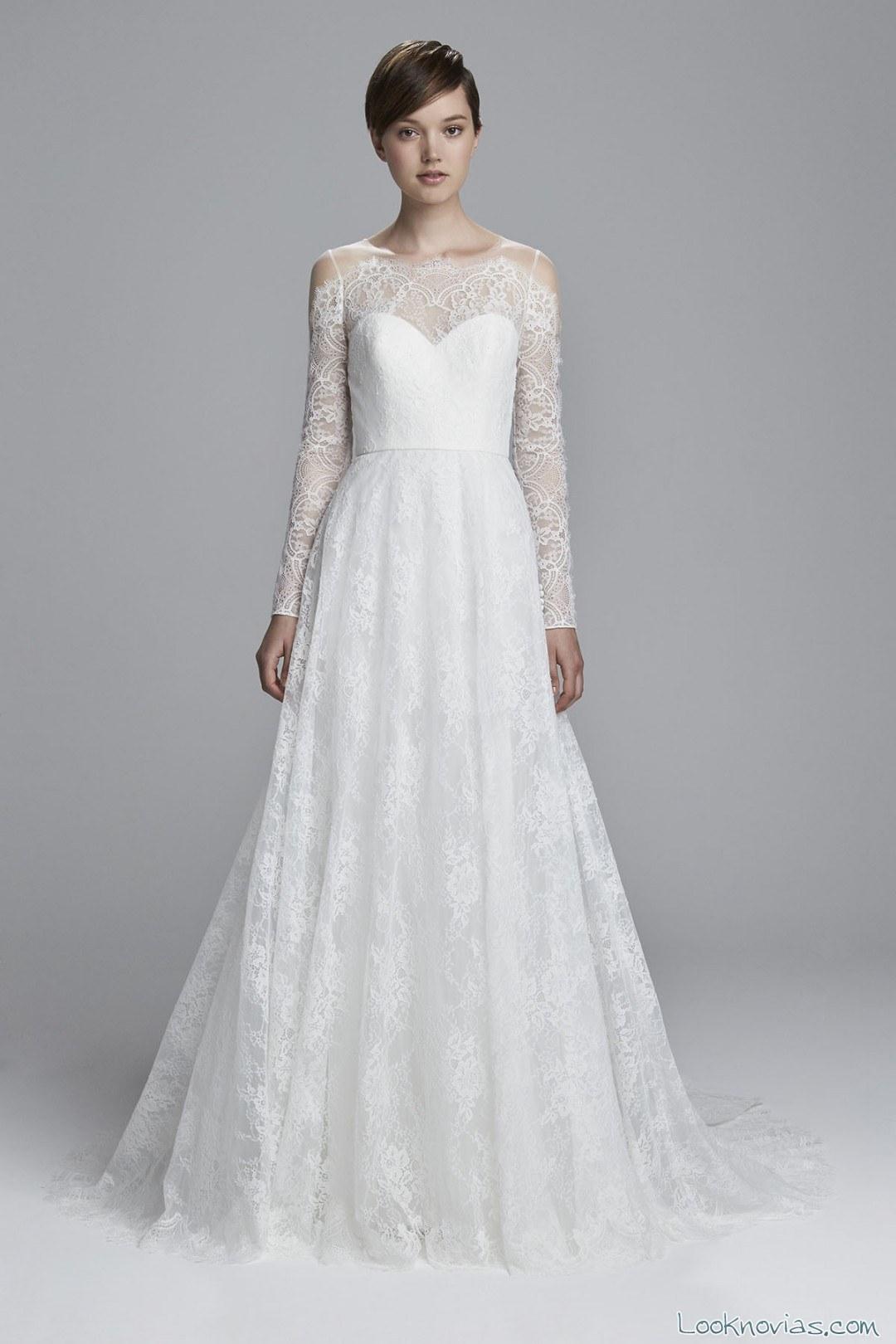 vestido novias evasé mangas