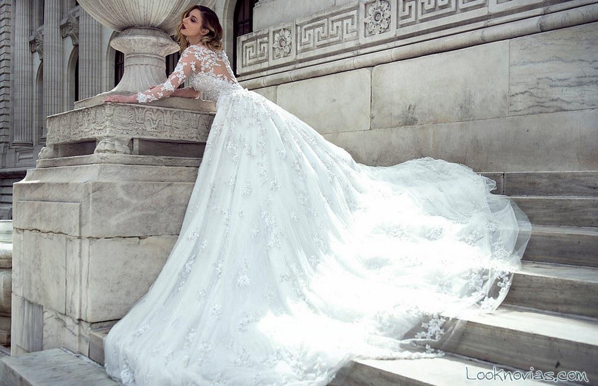 vestido novias falda con volumen capas