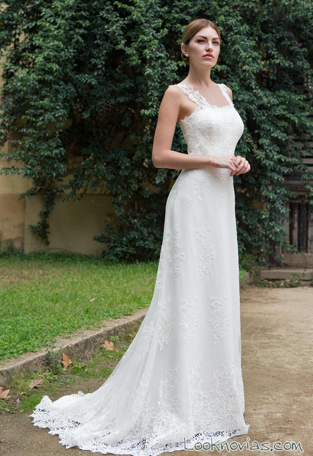 vestido novias l´aventis tirantes