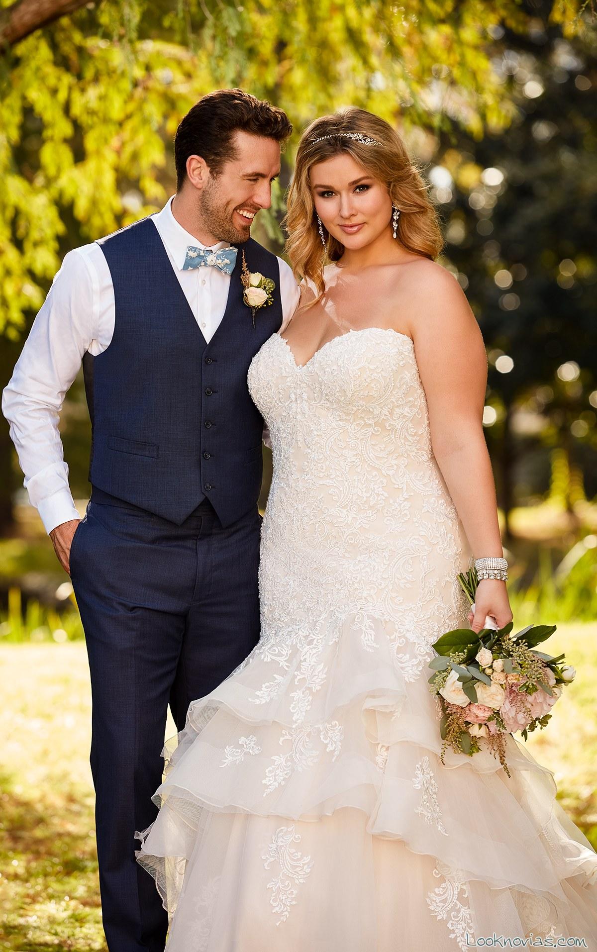 vestido novias plus size recto en color