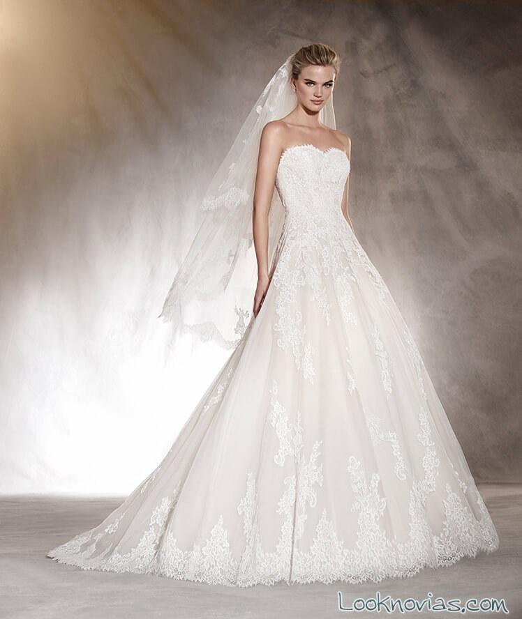 vestido novias pronovias escote strapless blanco