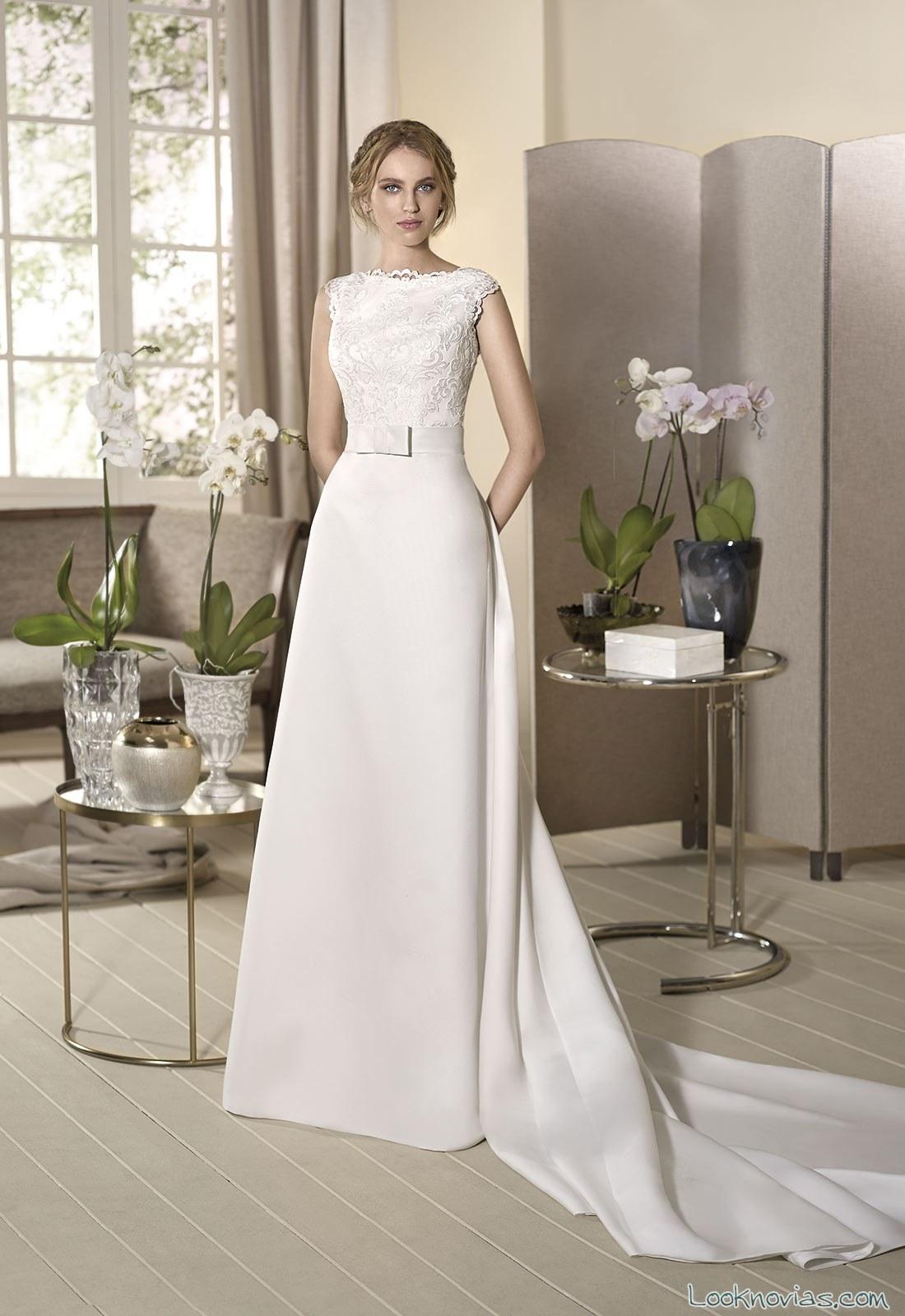 vestido novias recto falda volumen