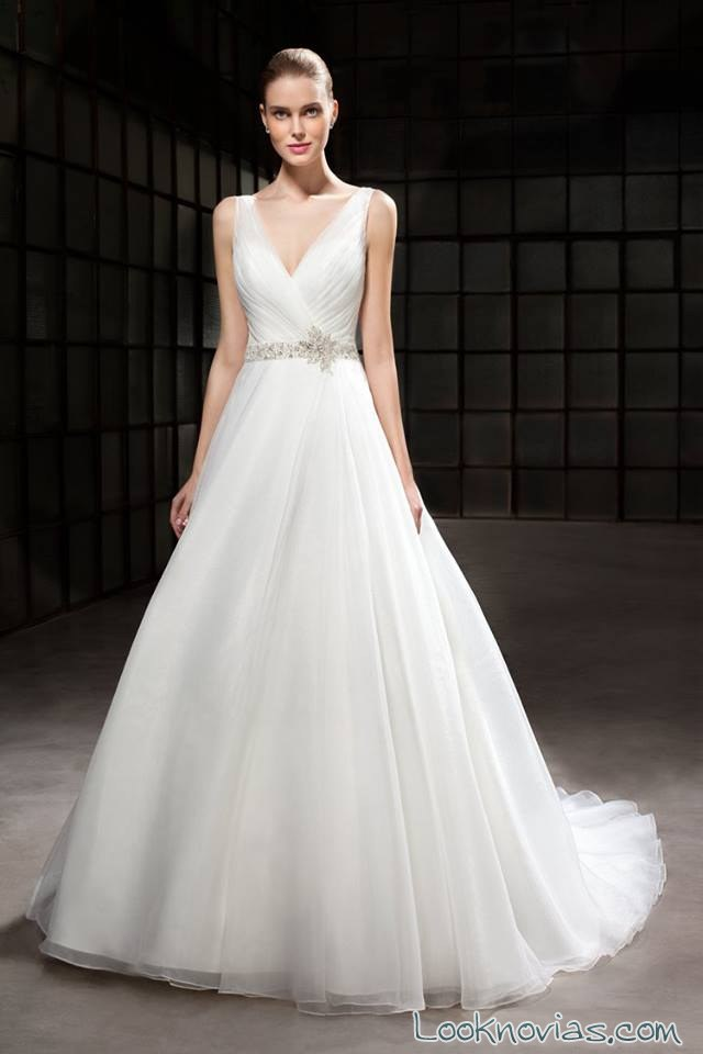 vestido novias vaporoso tirantes cosmobella