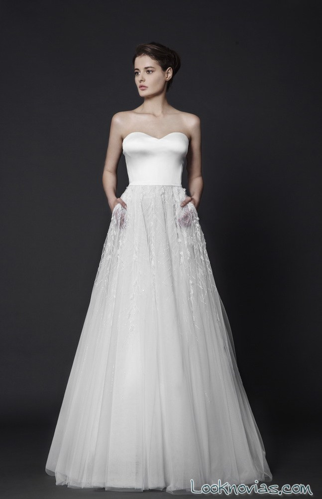 vestido para novias con falda transparente
