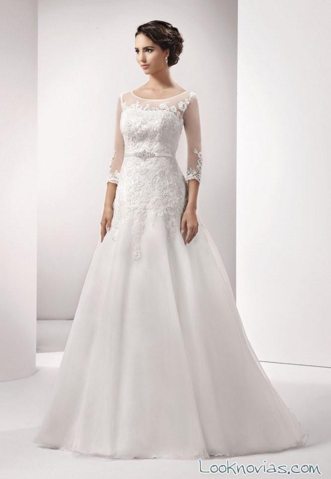 vestido para novias con mangas agnes