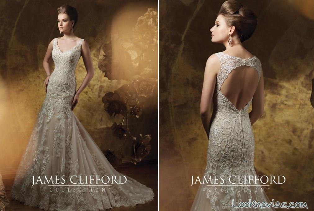 vestido pedrería y encaje para novias