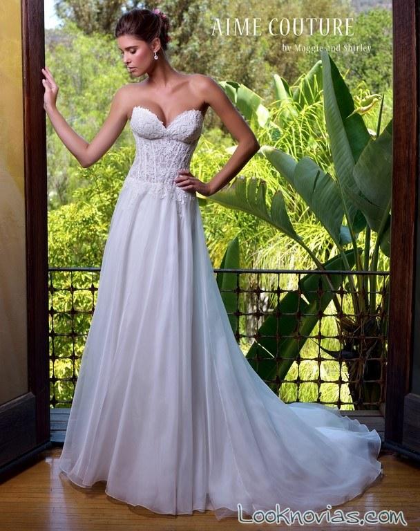 vestido plisado con volumen novias maggie shirley