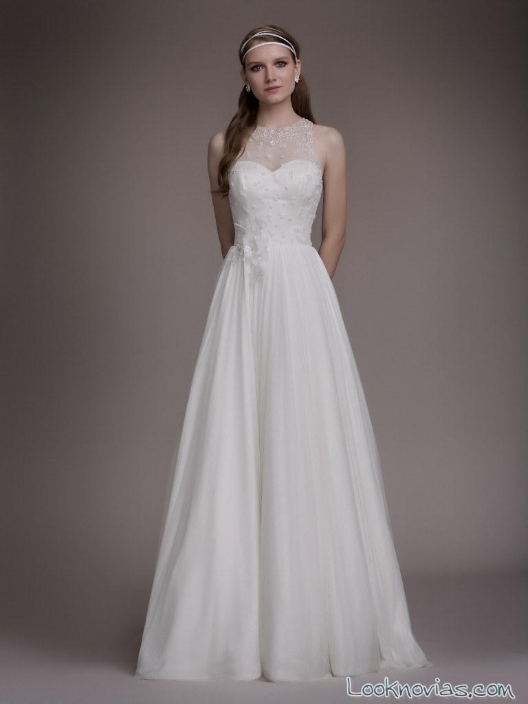 vestido plisados novias blancary