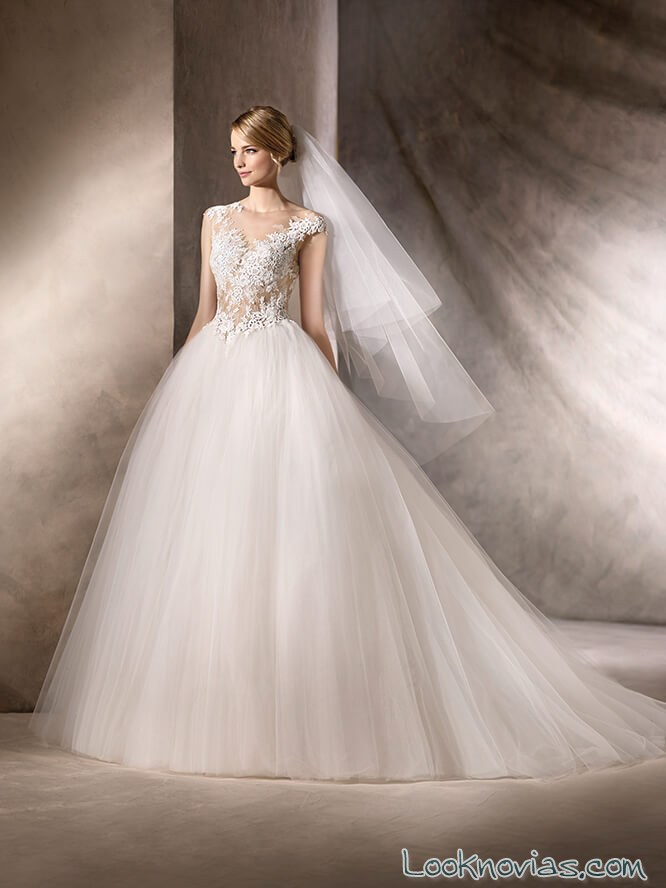vestido princesa de novia con gasa 2017