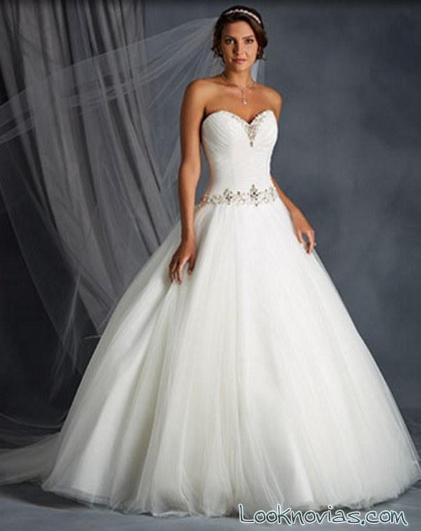 vestido princesa falda de tul alfred angelo