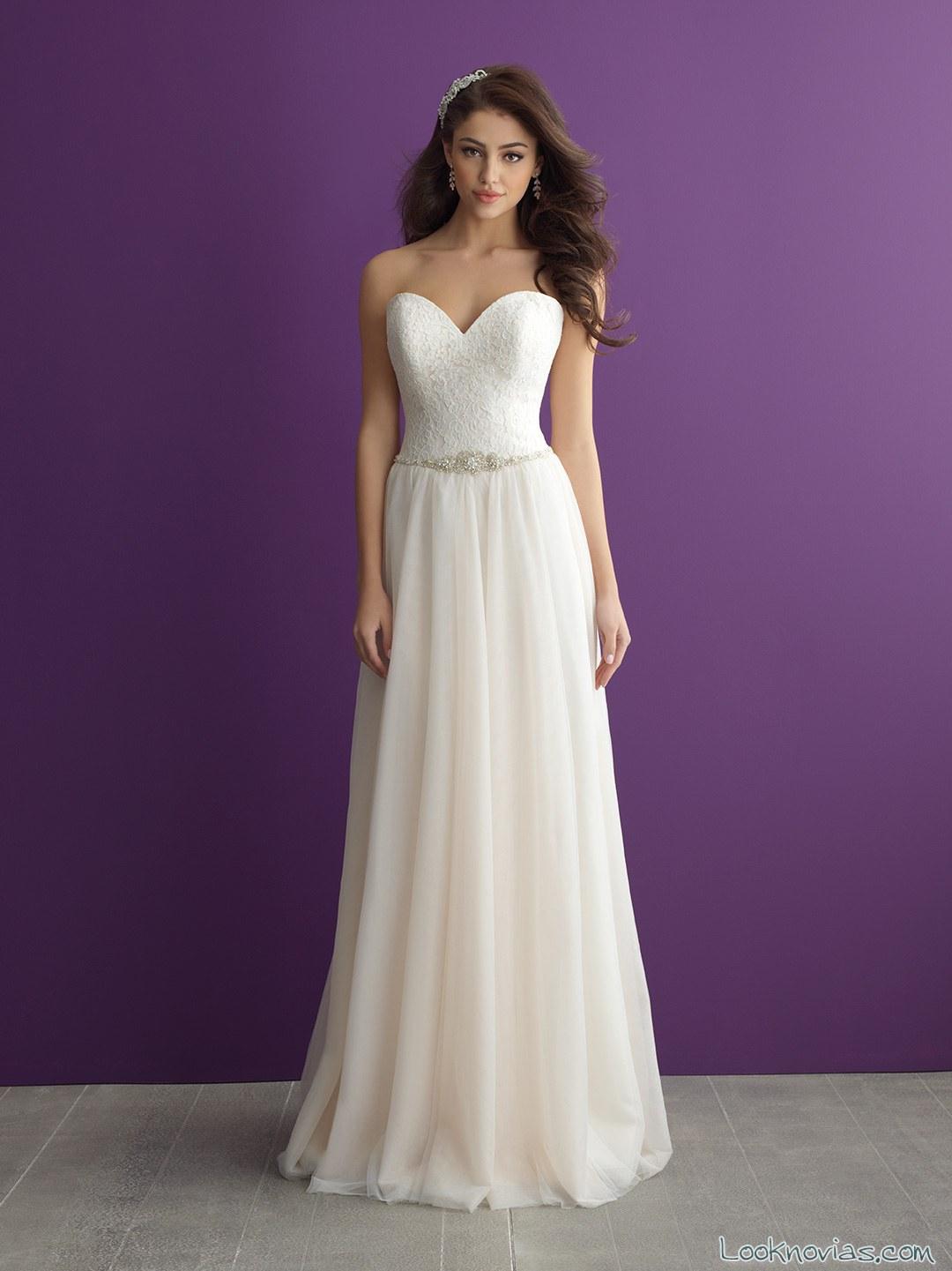 Vestido recto allure bridals novias otoño