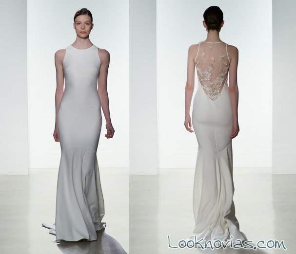 vestido recto amsale con escote