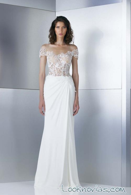 vestido recto blanco con cuerpo de encaje gemy maalouf