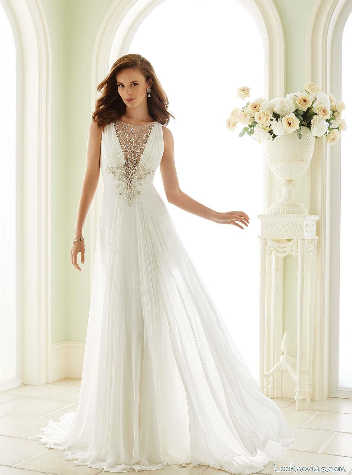 vestido recto blanco novias sophia tolli