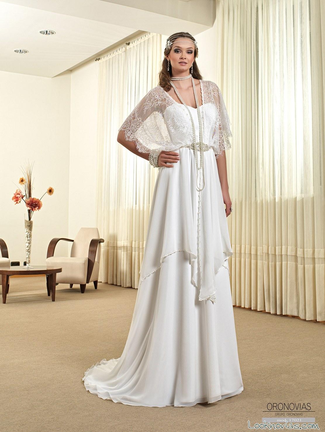 vestido recto boho oronovias
