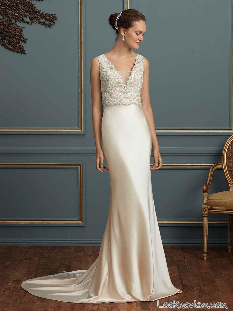vestido recto combinado de novia amare couture