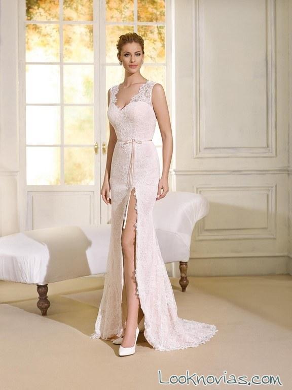vestido recto con abertura 2017