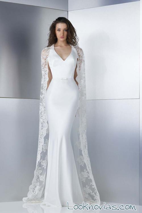 vestido recto con capa en color blanco