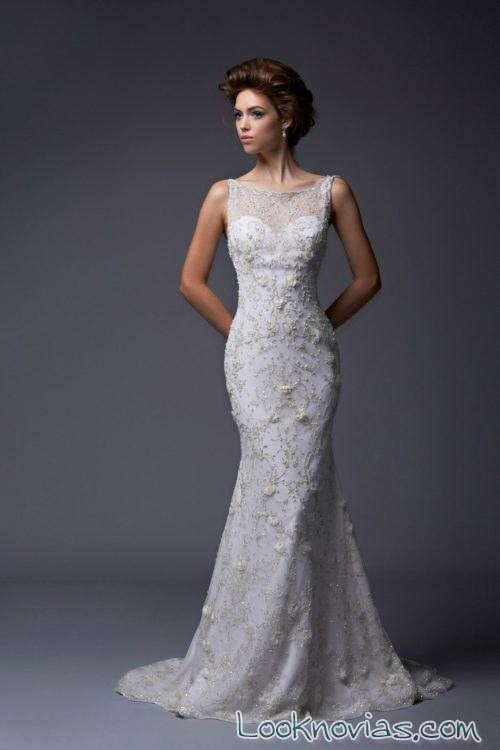 vestido recto con escote fantasía enaura bridal