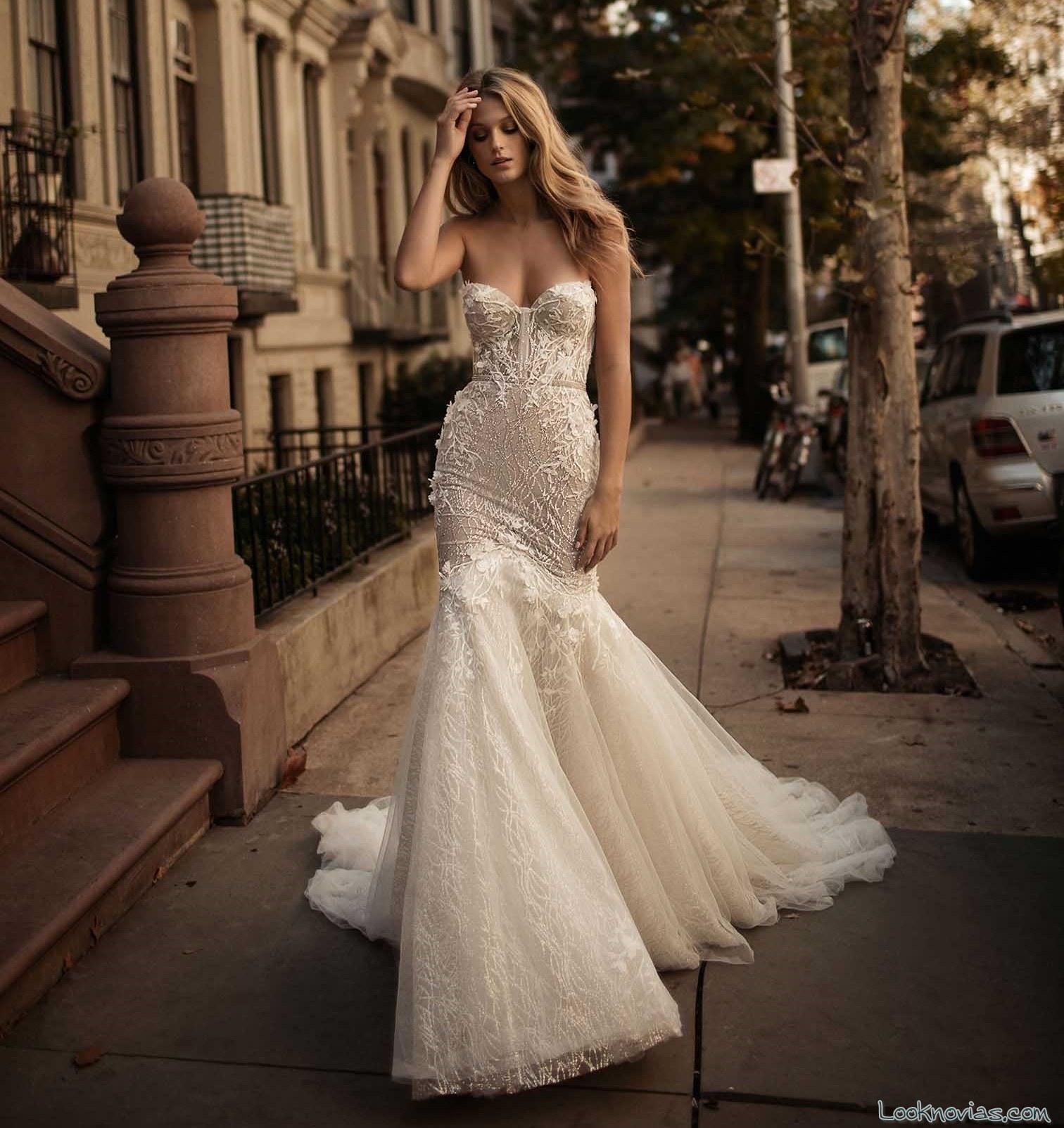 vestido recto con falda gasa berta bridal
