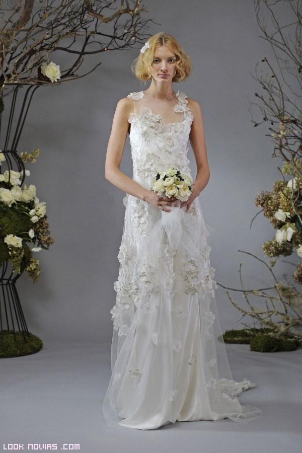 vestidos de novia en gasa con flores