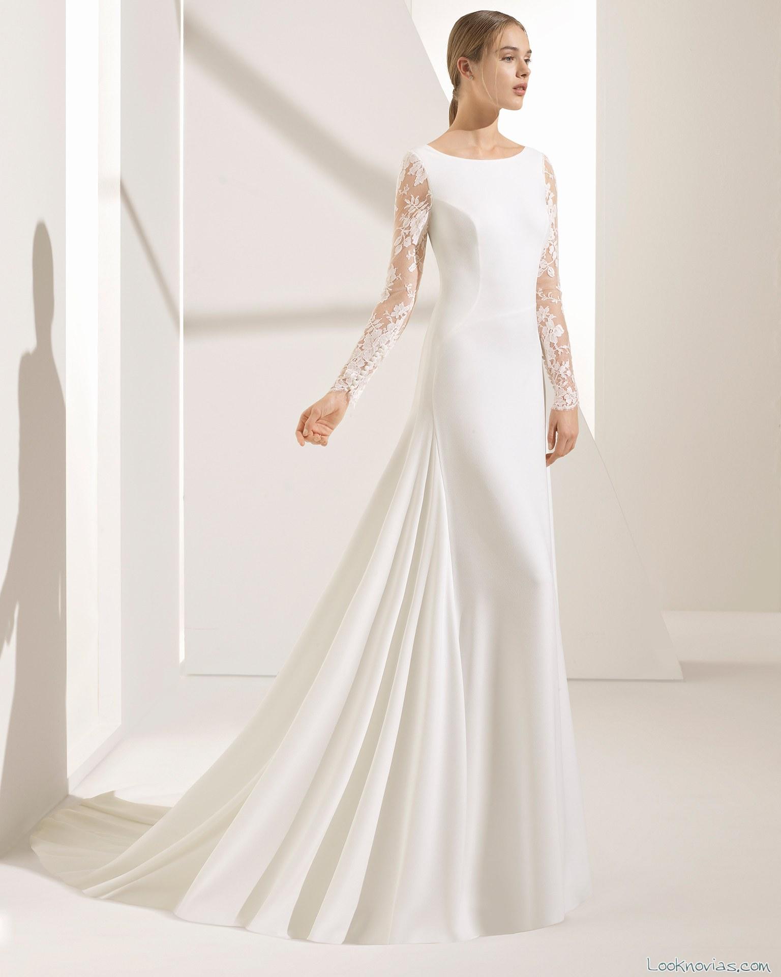 vestido recto con mangas de encaje 2018