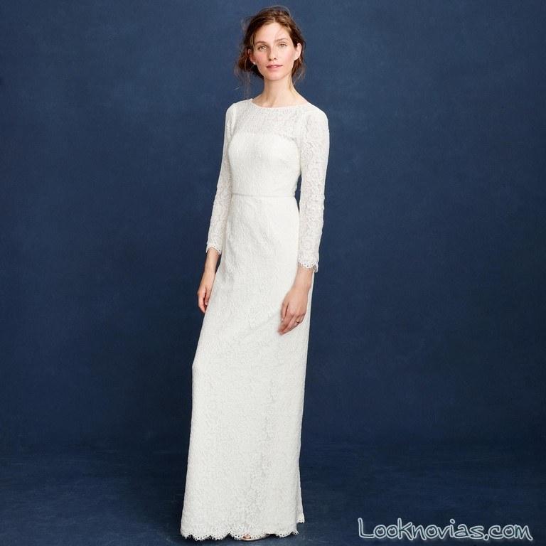 vestido recto con mangas novias jcrew