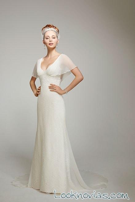 vestido recto con mangas para novias vintage